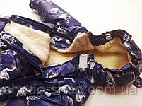 """Зимний детский комбинезон трансформер """"Кепочка"""" синие лебеди, фото 2"""