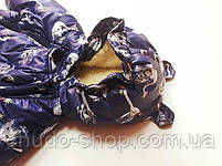 """Зимний детский комбинезон трансформер """"Кепочка"""" синие лебеди, фото 3"""
