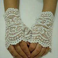 Детские ажурные перчатки митенки