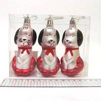 """Новогодняя игрушка 4886 набор 10см х3шт """"Собачки в красном"""" пластик"""
