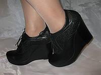 Закрытые туфли на платформе кожа