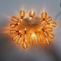 Новорічна гірлянда з фігурками, пружинка колір золото 20LED, фото 1