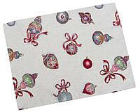 Салфетка-подкладка сервировочная гобеленовая с люрексом с новогодним принтом.