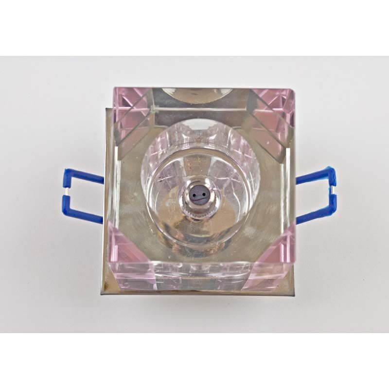 Встраиваемый светильник хром, прозрачный розовый 12284/1S CR CL PK