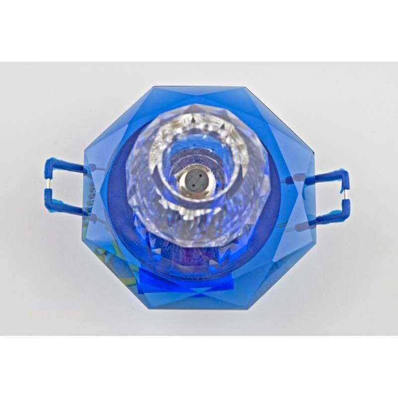 Встраиваемый светильник хром, прозрачный синий 12286/1S CR BL CL