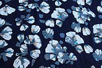 Штапель с принтом (темно-синий)