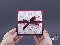 """Весільні запрошення (свадебные приглашения) """"Round square""""  (марсала)"""