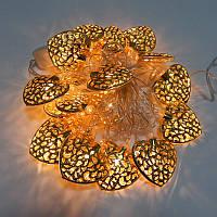 Новогодняя гирлянда с фигурками, сердце цвет золото 20LED