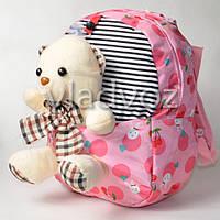 Детский рюкзак для девочек с мягкой игрушкой мишка розовый полосы