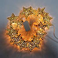 Новогодняя гирлянда с фигурками, звезда цвет золото 20LED