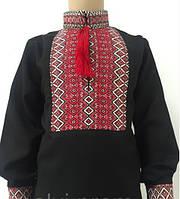 Вышиванка  для мальчика, черный лен, 122-158 см