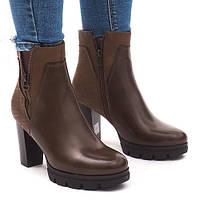 Красивые ботильоны,ботинки на тракторной подошке коричневого цвета