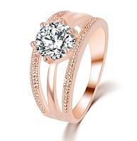 Позолоченное кольцо женское с белым кристаллом код 1283 р 17 18