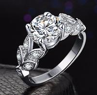 Позолоченное кольцо женское с белыми цирконами код 1284 р 16 18 19