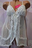 Белый свадебный пеньюар с рюшами