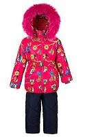Детские зимние тёплые комбинезоны-тройка  для девочек 1-5 лет Цветы и птицы S993