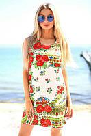 Женское летнее платье трапеция с ярким принтом, фото 1