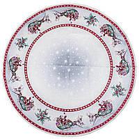 Скатерть столовая гобеленовая круглая новогодняя c люрексом диаметр 137 см.
