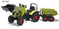 FALK Трактор педальный с прицепом и ковшом зеленый 225см FAL 991P