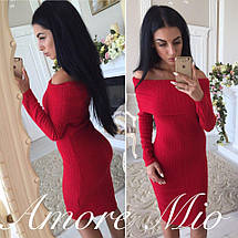 Платье обтягивающее с открытыми плечами теплое средней длины Бордо Черный Красный, фото 2