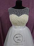 Короткое свадебное платье айвори (бежевое), фото 3