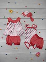 Комплект летний Куколка 4 предмета для новорожденной девочки, кулир. р.р.24-30