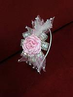 Обруч детский с бантиком и цветком белый с розовым
