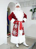 Костюм Деда Мороза красный, цирковой с аппликацией и камнями