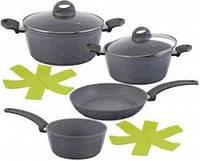Набор посуды 2 кастрюли, ковш, глубокая сковородка, мраморное покрытие
