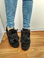 Зимние ботинки с ушками зайчики натуральная замша