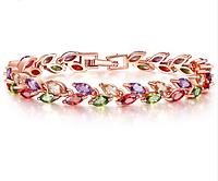 Позолоченный браслет женский с цветными кристаллами код 1287