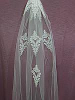 Свадебная фата белая длинная с гипюром, фото 1