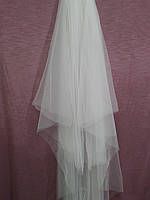 Шикарная свадебная фата белая длинная венчальная из еврофатина