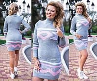 Вязаное платье-туника Диамант  серый+розовый 48-52р