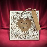 Оригинальные крафт-пригласительные на свадьбу (арт. 2686)