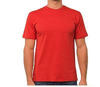 Красная мужская футболка спортивная летняя больших размеров без рисунка прямая трикотажная хб (Украина)