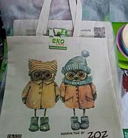 Эко-сумка ZOZ Совушки зима (Лен)
