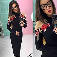 Женское стильное черное платье с открытыми плечами