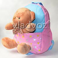 Детский рюкзак с мягкой игрушкой мишка нежно розовый