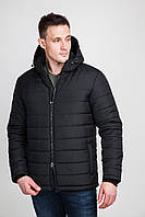 Стильная мужская зимняя куртка с капюшоном больших размеров черного цвета