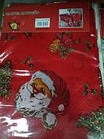 Скатерть новогодняя атлас 150*220 см Санта Клаус, новогодние атласные скатерти оптом от производителя