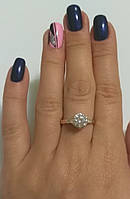 Кольцо серебряное женское с золотыми напайками и белым цирконием Лель