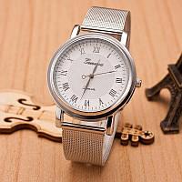 Женские часы Geneva Princess серебряные с белым, жіночий наручний годинник, кварцевые наручные часы, фото 1