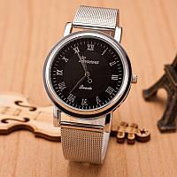 Женские часы Geneva Princess серебряные с черным, срібний жіночий годинник, женские наручные часы, фото 1