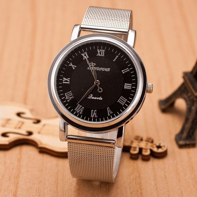 Женские часы Geneva Princess серебряные с черным, срібний жіночий годинник, женские наручные часы
