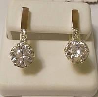 Серьги женские из серебра с золотом и цирконием Лель