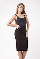 Вязаная женская юбка-карандаш черного цвета