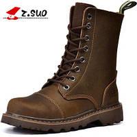 Мужские высокие кожаные сапоги ботинки берцы , фото 1