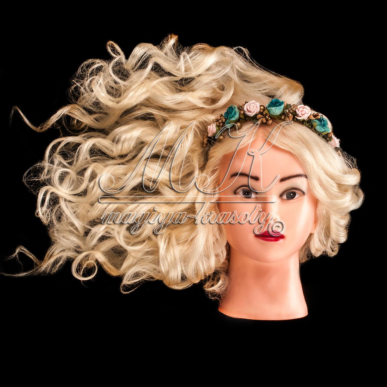 Учебный манекен для причесок, укладок и плетения PROFI №1-W  с натуральными волосами, белый, фото 1
