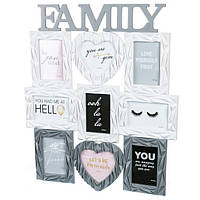 "Фотоколлаж ""Family9"" бело-серый"